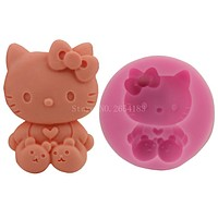 Cartoon Hello Kitty Cat Silicone Fondant Soap 3D Cake Mold Cupcake Jelly Candy Chocolate Decoration Baking Tool Moulds FQ2844