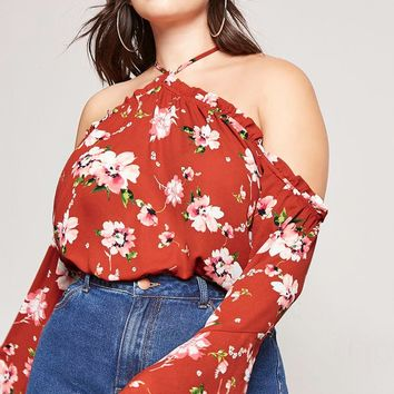 Plus Size Floral Open-Shoulder Top