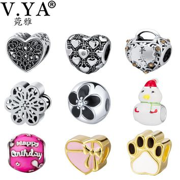 V.YA Personalize ' Jewelry Beads fit for Pandora Bracelets Necklace Women Men Girls Boys DIY Bead for jewelry Making