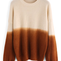 Dropped Shoulder Seam Ombre Ribbed Khaki Sweater