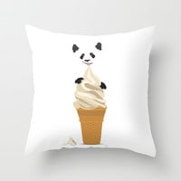Panda Licking Ice Cream Throw Pillow by Ornaart