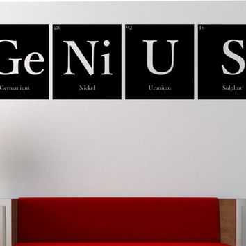 GENIUS Periodic Table Elements Vinyl Wall Decal Sticker Art Decor Bedroom Design Mural Science Geek nerd educational education