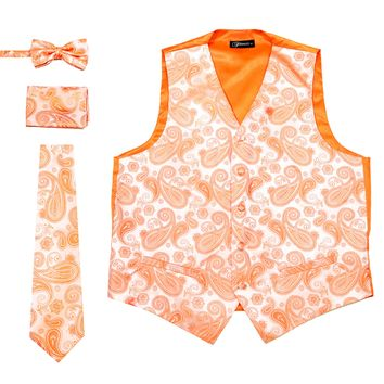 Ferrecci Mens Mandarin Paisley Wedding Prom Grad Choir Band 4pc Vest Set