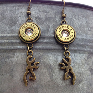 Bullet jewelry. Browning deer bullet earrings