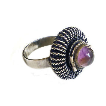 Mexican Poison Ring, Sterling Silver, Amethyst Ring, Chunky Statement, Mexico RRO, Artisan Jewelry, Vintage Ring