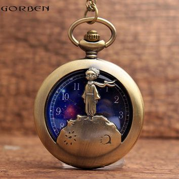 Bronze Classic The Little Prince Cartoon Pocket Watch with Necklace Pendant chain Blue Planet Relogio De Bolso mens Clock gift