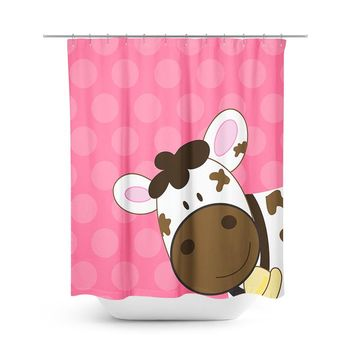 Brown Cow with Pink Shower Curtain
