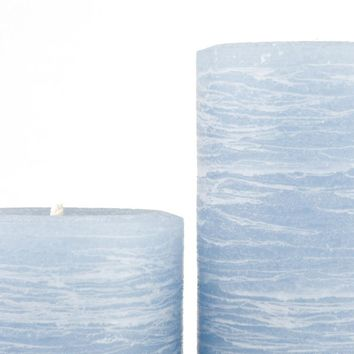 Light Blue Pillar Candle | Sky Blue Rustic