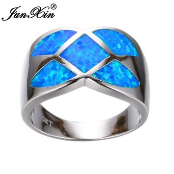 JUNXIN Simple Women Geometric Ring Blue Fire Opal Ring Fashion White Gold Filled Jewelry Vintage Wedding Rings For Women