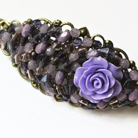 Purple Rose Head Barrette, Flower Jewelry, Hair Accessories, Beaded Hair Clasp, Rose Hair Accessory, Purple Hair Jewelry