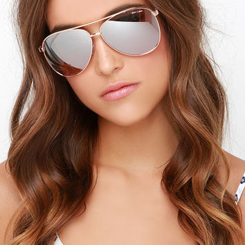 Quay Vivienne Gold Aviator Sunglasses