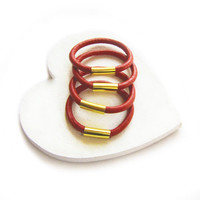 SALE - Burnt Orange Leather Stackable Ring with Gold Accents