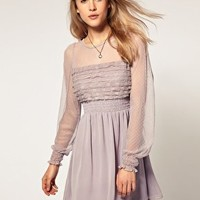 Free People | Free People Sheer Sleeve Lace Dress at ASOS