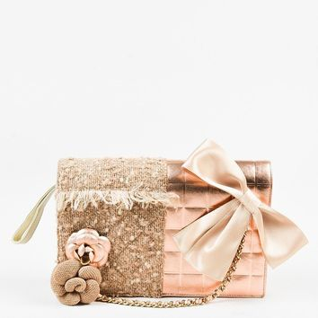 Chanel 01A Tan Rose Gold Leather Tweed Camellia Clutch