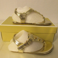 Michael Kors Lil Bello-DD Size 8 Gold Girls Toddler Sandals