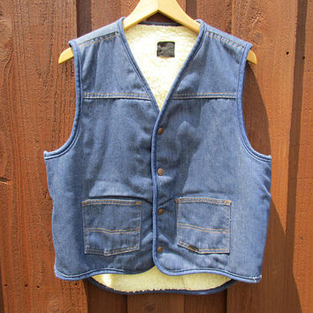 Sears Roebucks & Co Sherpa Denim Vest Snap Front Fleece Lined Jean Vest from Roebucks Sz M