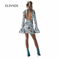 ELSVIOS Sexy Hollow out Backless Mini Autumn Dress Women Long Flare Sleeve Elegant Short Dress Floral Print Slim Party Dresses
