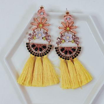 Bright Yellow Tassel Earrings