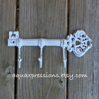 Cast Iron Hook / White Metal Key Hook /Wall Hanger/ White Skeleton Key Rack/ Fun Elegant Wall Decor/ Cottage Shabby Chic/ Painted Distressed