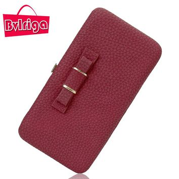 BVLRIGA Brand Bow Tie Leather Female Wallet Women Purse Coin Credit Card Holder Business Travel Lady Clutch Bag Organizer Pink
