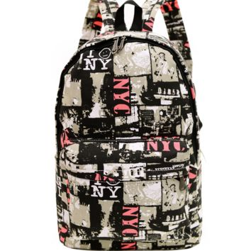 NYC Printed Canvas Backpack