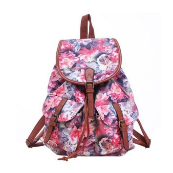 Large Canvas Rose Flower Daypack Casual Backpack Travel Bag