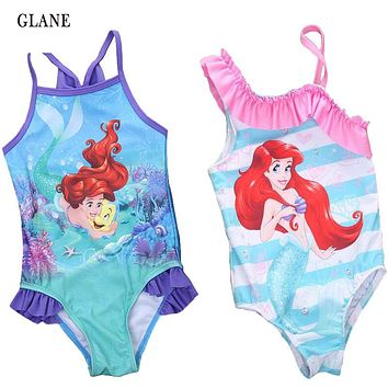 2-7T Mermaid Girl Kids Swimsuit Cartoon Bathing Suit Print Children Swimwear Bikini Tankini Baby Girl Summer Swimming Costume