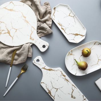 Kinzey White And Gold Marble Serving Trays