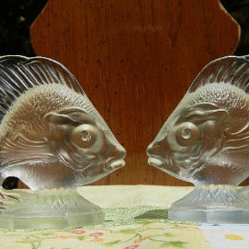 CIJ Sale: Fenton Glass Fish  (Vintage Pair) - Crystal Velvet, Like New, Rare, and Original Label
