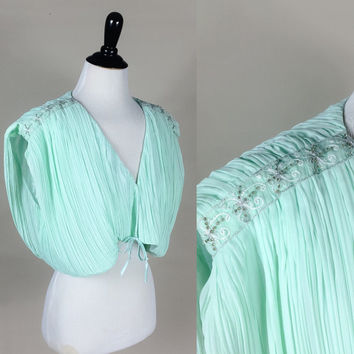 Sarahi blouse // 80s sheer pleated aqua mint green beaded shoulders grecian crop top // plunging bust ultra draped // size OSFM