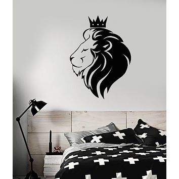 Vinyl Wall Decal Royal Lion King Head Crown African Animal Stickers (3309ig)