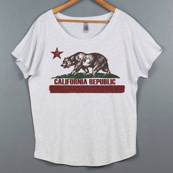 Women's Shirt- Loose Fitting Sexy T Shirt- Off the Shoulder Top- California Flag Graphic Tee- Women's Blouse