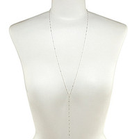 Dogeared 100 Good Wishes Long Faceted Delicate Y-Necklace - Silver