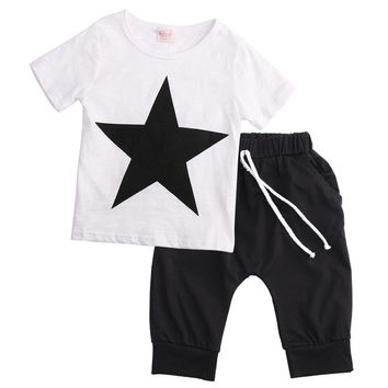 Fashion Kids Baby Boys Star T-shirt Tops Harem Pants Outfits Set Clothes 2-7T
