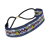 Pastoral Floral Pattern Tape Headband in Blue