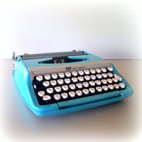 AQUA SMITH CORONA Typewriter Vintage Light Blue Manual 1960s Type Writer Working with Carrying Case 60s Corsair Deluxe Portable Super Retro