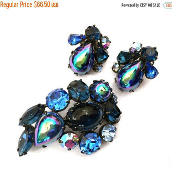 Super Clearance Regency Shades of Blue Rhinestone Demi, Brooch and Earring Set, Oil Slick Pear Cut, Blue Aurora Borealis Marquise and Round