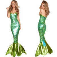Newest Sexy Sea Siren Costume Adult Halloween Mermaid Fancy Dress Girl's summer dress christmas wemen costumes