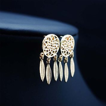 925 Sterling Silver Bohemia Nationality Indian Feather Dream catcher Dreamcatcher Stud Earrings For Women Fine Jewelry
