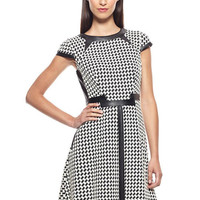 Julia Jordan Women's Cap Sleeves Houndstooth Fit & Flare Dress