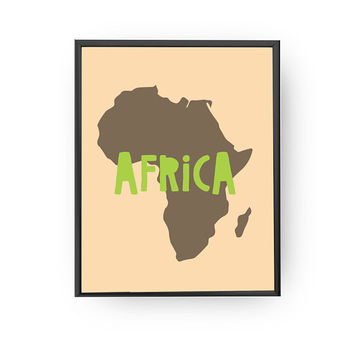 Africa Continent Print, School Room Decor, Nursery Wall Art, Typography Poster, Kids Print, Map of Africa, Educational Print, Nursery Poster