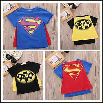 Kids Caped T shirt Baby Short Sleeve Superman Batman Cotton Tops