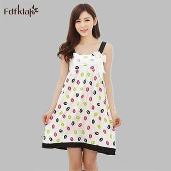 2017 Summer dress girls cotton suspenders sexy nightgown female Korean print night shirts sexy nightdresses for women S0061