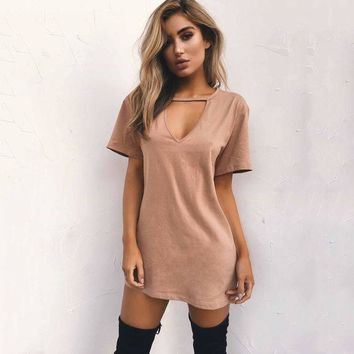 DCCK7XP Hot Sale Strong Character V-neck T-shirts Sexy Slim One Piece Dress