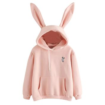 Feitong 2018 Harajuku Hoodies Women Long Sleeve Rabbit Embroidered Sweatshirt Pullover Autumn Lovely Rabbit Ears Jumper #L