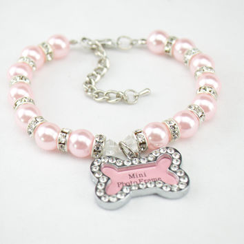 Pearls and Bling Female Dog Collar
