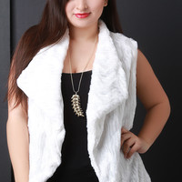 Striped Texture Faux Fur Vest