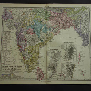 "INDIA old map 1886 LARGE original hand-colored antique print about Madras Calcutta Sri Lanka vintage maps British India poster 14x17"" big"