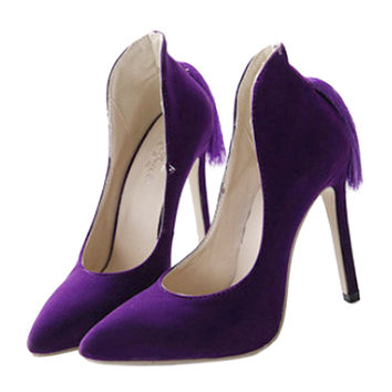 Back Heel Tassel Pointed Thin High Heel Low-cut Wedding Shoes  purple