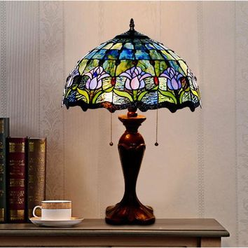 Shop blue glass lamp shade on wanelo cottage charm stained glass table lamp tall warm luxurious li aloadofball Image collections
